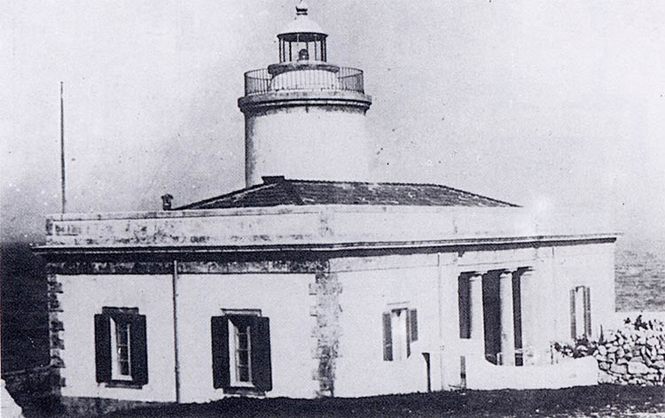 Sant Carles lighthouse before its demolition. Lighthouses of Menorca